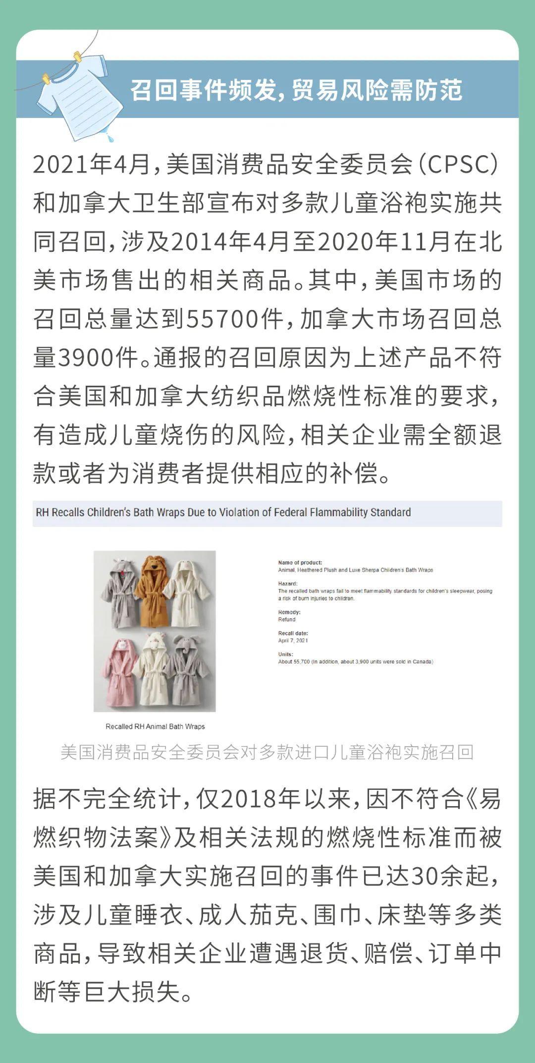 出口北美纺织品需关注燃烧性合规风险